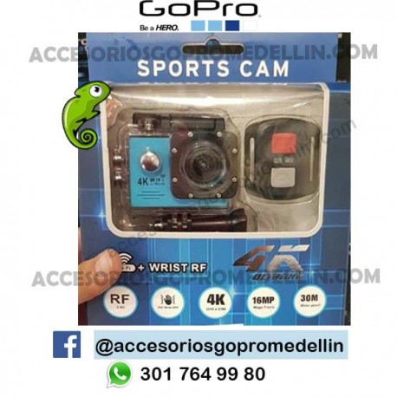 Cámara Sports Cam 4K 16MP WIFI 30m sumergible