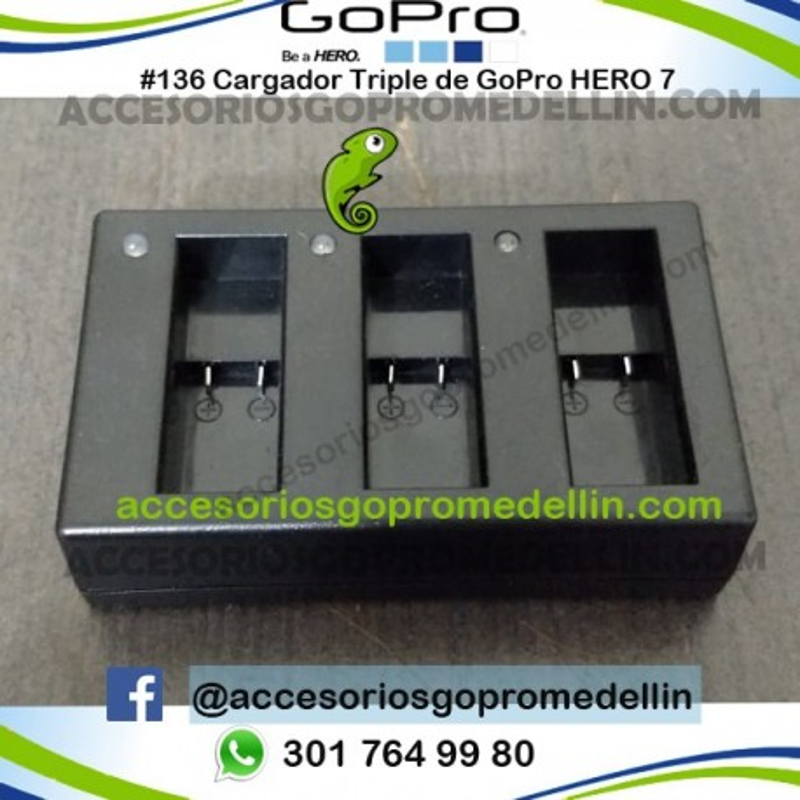 Cargador GoPro Hero 7 para 3 baterías