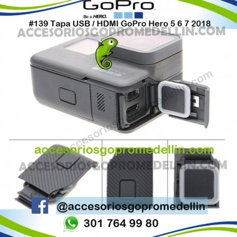 Tapa Puerto USB GoPro Hero 5 6 7 2018 Original