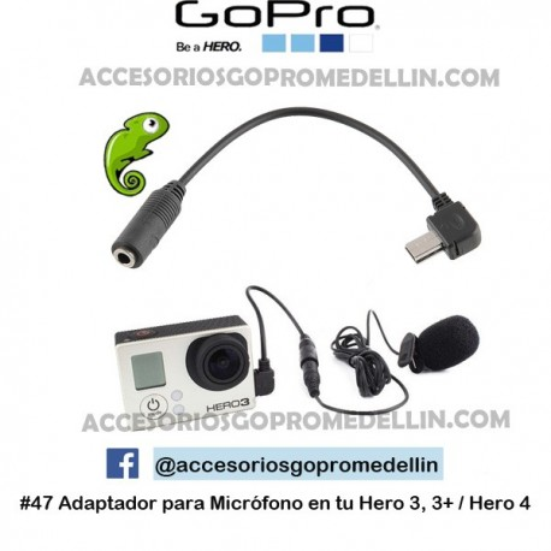 Adaptador Microfono GoPro 3.5mm Hero 3, 3+ y 4